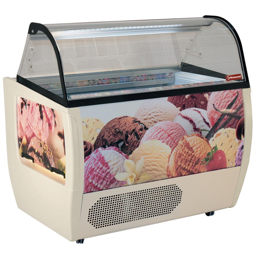 Comptoir présentoir, crème glacée, 10 bacs 5 Lit, avec réserve