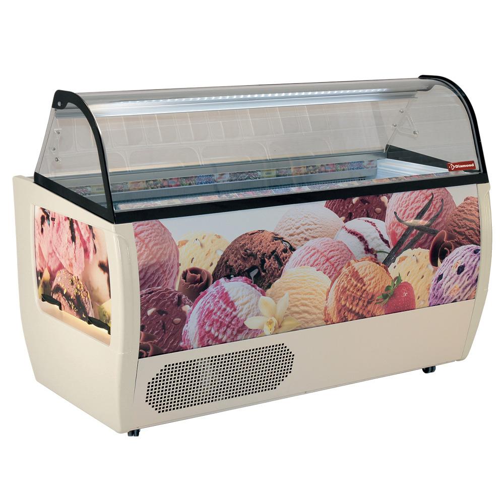 Comptoir présentoir pour crème glacée, 13 bacs 5 Lit, avec reserve