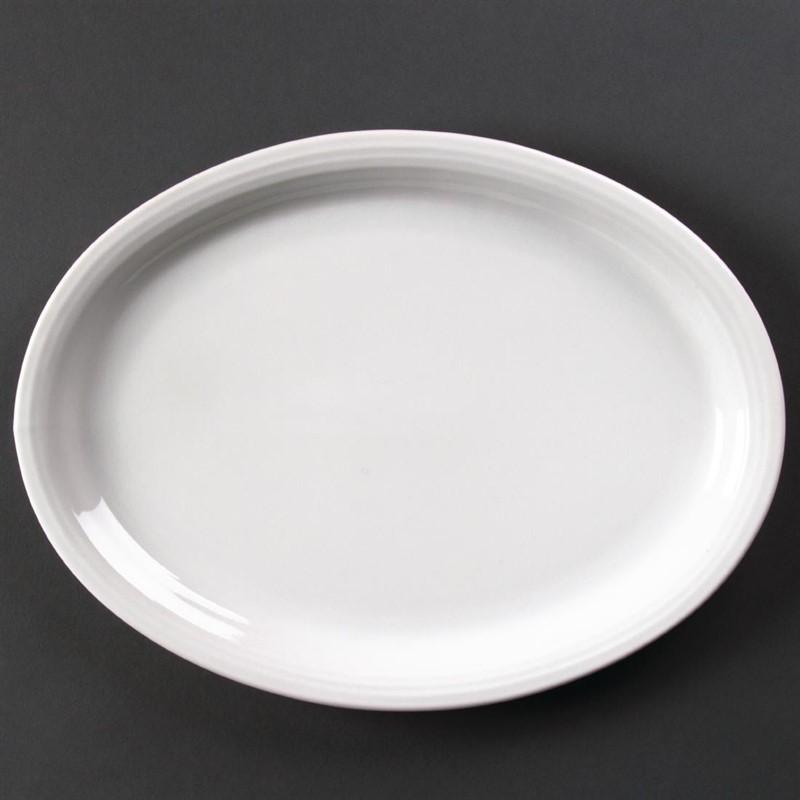 Assiette ovale Linear 295mm Olympia - Lot de 6