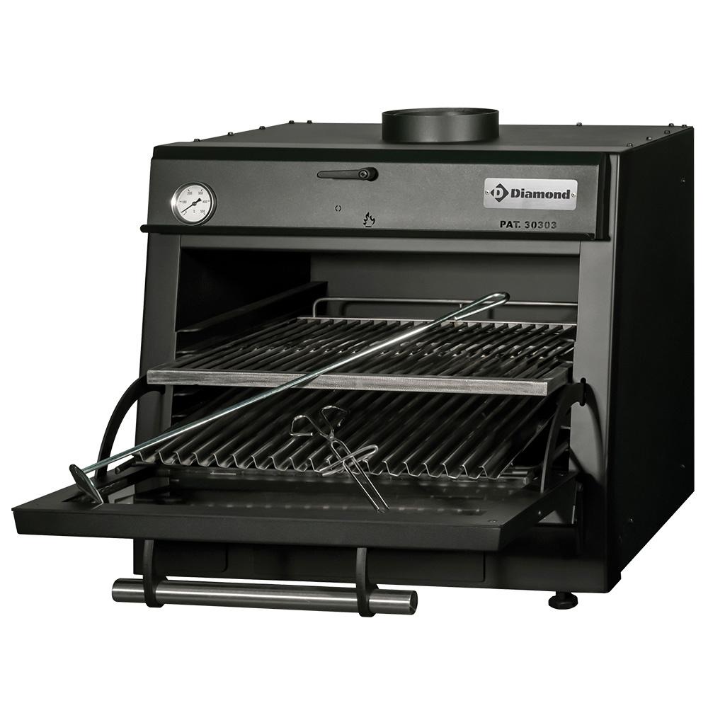Four-BBQ à charbon, GN 1/1 (60 Kg/h)/Noir