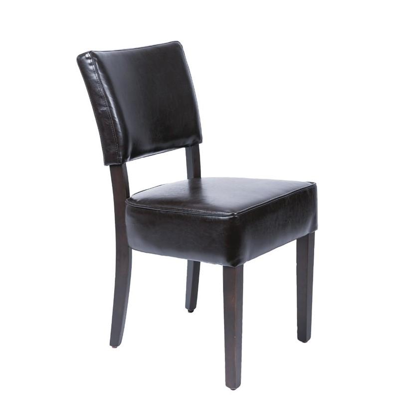 Chaises confortables en simili cuir marron foncé