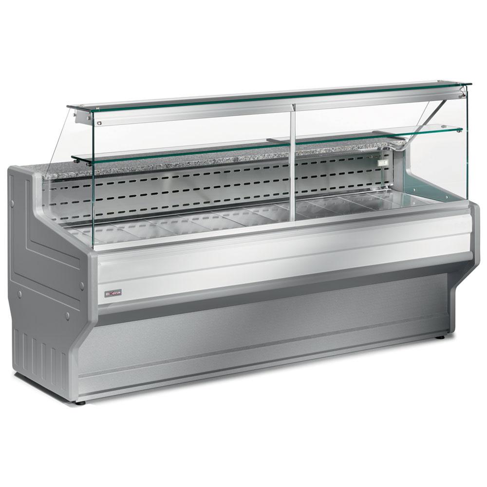 Comptoir vitrine réfrigéré à vitre droite 90°, avec réserve