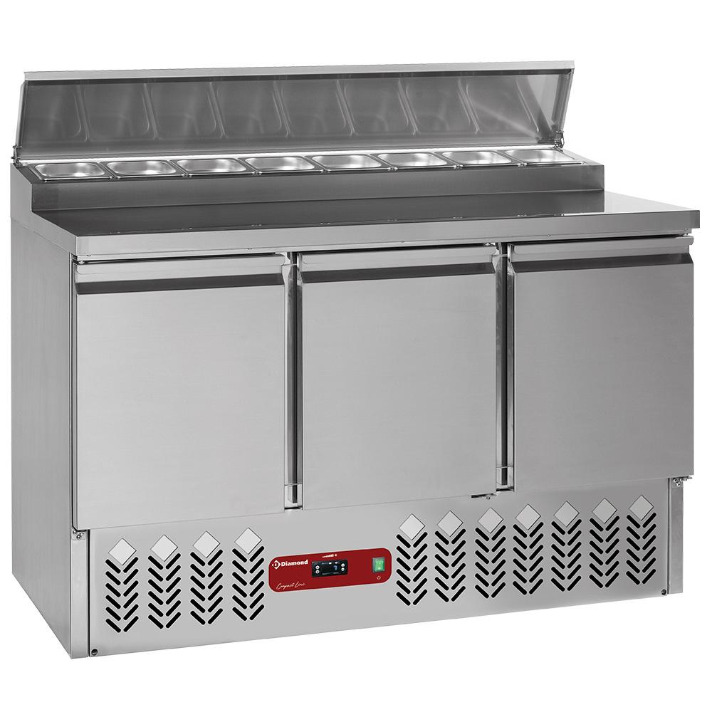 Table préparation frigorifique 3 portes GN 1/1, 340 Lit + structure réfrigérée 8x GN1/6-150 mm