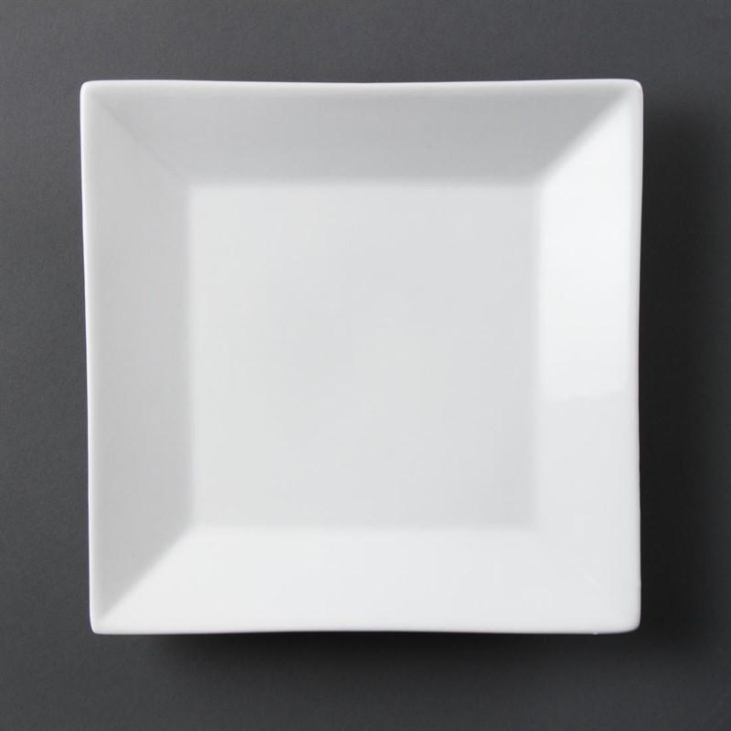 Assiette carrée à large bord blanche Olympia - 6 pièces